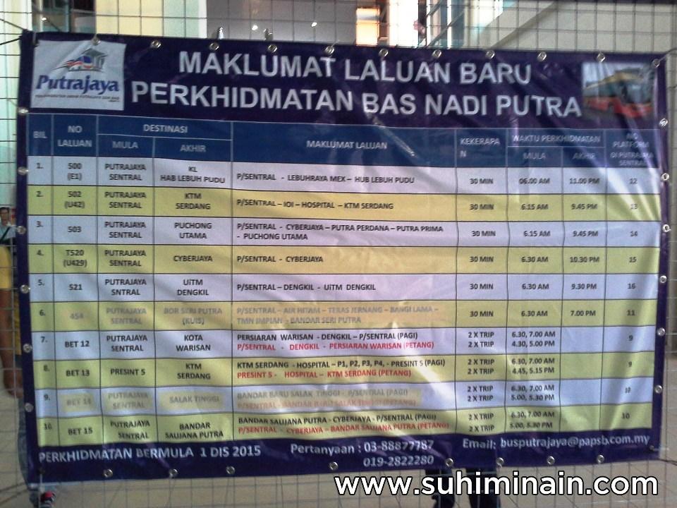 jadual bas antara bandar putrajaya cyberjaya