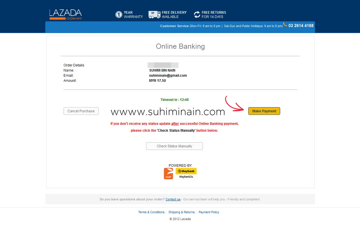 lazada payment by online banking