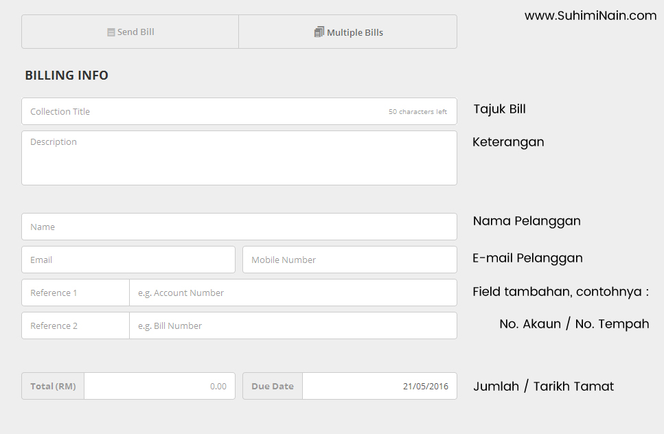 contoh form untuk create bill dan hantar kepada pelanggan